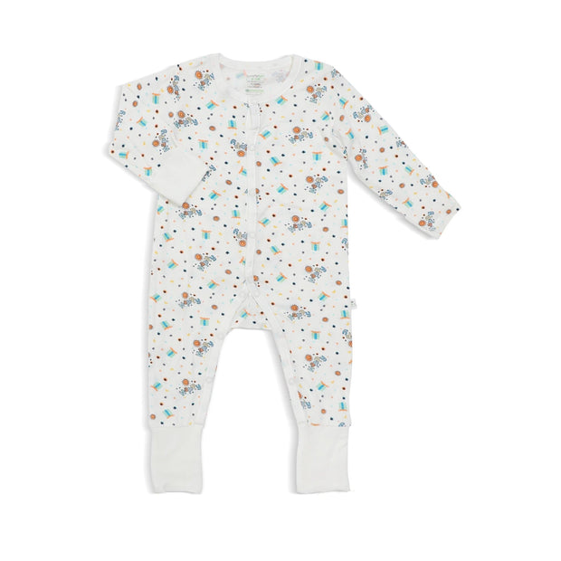Happy - Long-sleeved Button Sleepsuit with Folded Mittens & Footie by simplylifebaby