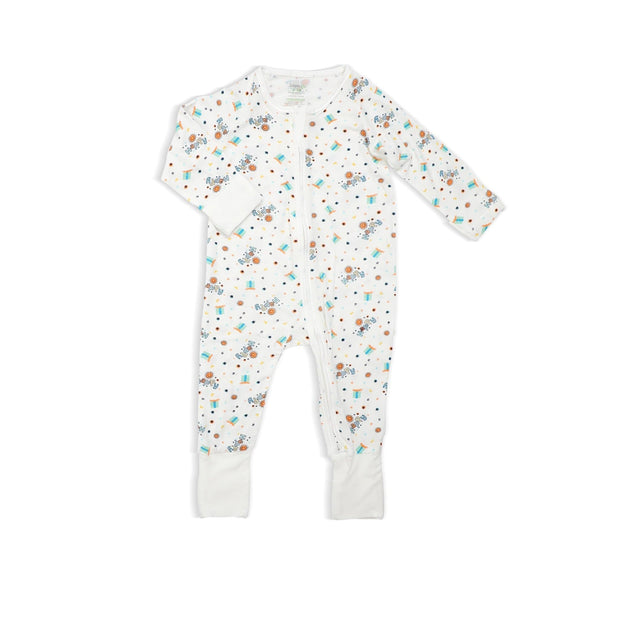 Happy - Long-sleeved Zipper Sleepsuit with Folded Mittens & Footie by simplylifebaby