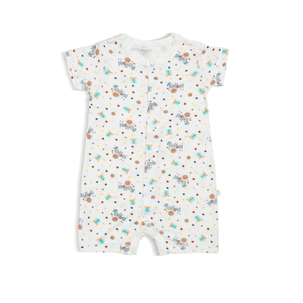Happy - Short-sleeved Shortall with Front Buttons by simplylifebaby