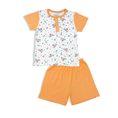 Happy - Shorts & Tee Set with Snap Front Buttons (Orange) by simplylifebaby