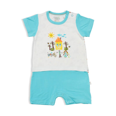 Happy - Tee (shoulder button) with attached Shorts by simplylifebaby