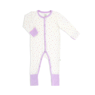 Hearts (Lilac) - Long-sleeved Button Sleepsuit with Folded Mittens & Footie by simplylifebaby