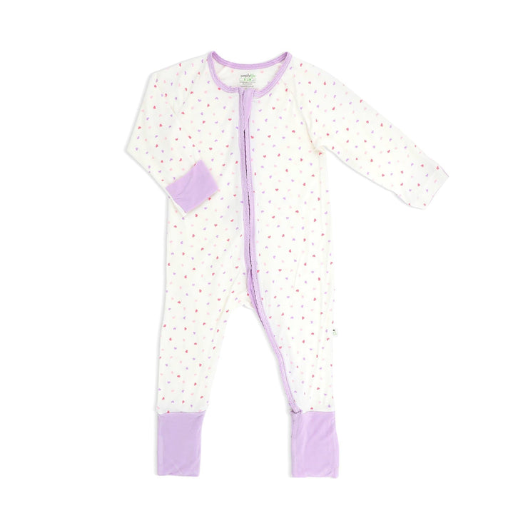 Hearts (Lilac) -  Long-sleeved Zipper Sleepsuit with Folded Mittens & Footie by simplylifebaby