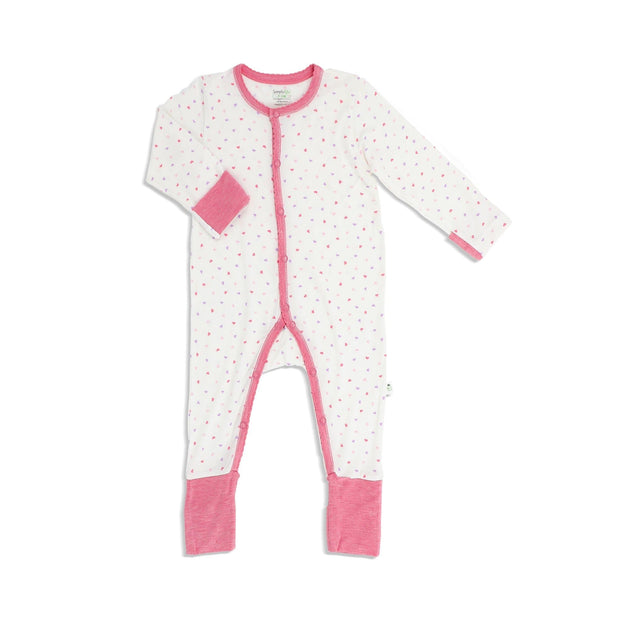 Hearts (Pink) -  Long-sleeved Button Sleepsuit with Folded Mittens & Footie by simplylifebaby