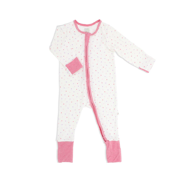 Hearts (Pink) -  Long-sleeved Zipper Sleepsuit with Folded Mittens & Footie by simplylifebaby