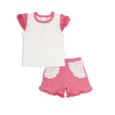 Hearts - Short-sleeved Tee with Ruffles & Shorts with Frills (mocked pocket) Baby Set - Simply Life