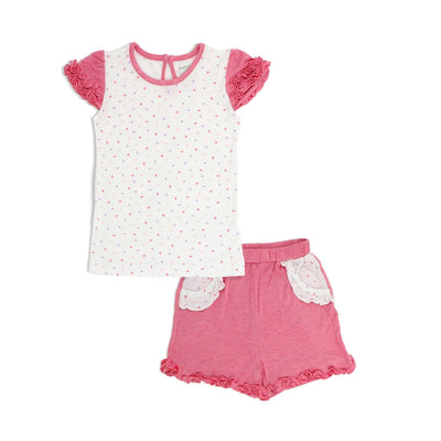Hearts - Short-sleeved Tee with Ruffles & Shorts with Frills (mocked pocket) Kids Set - Simply Life