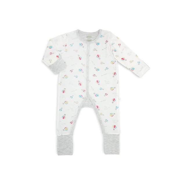 Hot Air Balloon - Long-sleeved Button Sleepsuit with Folded Mittens & Footie by simplylifebaby