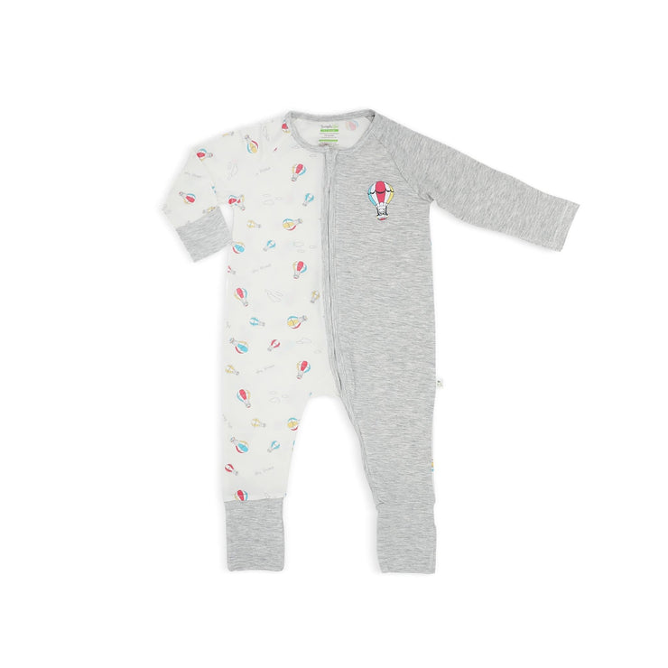 Hot Air Balloon - Long-sleeved Zipper Sleepsuit with Folded Mittens & Footie by simplylifebaby