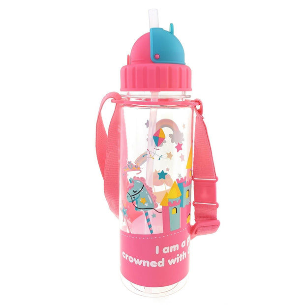 I am a Princess- 450 ml Water Bottle with Straw Lid and Strap - Simply Life
