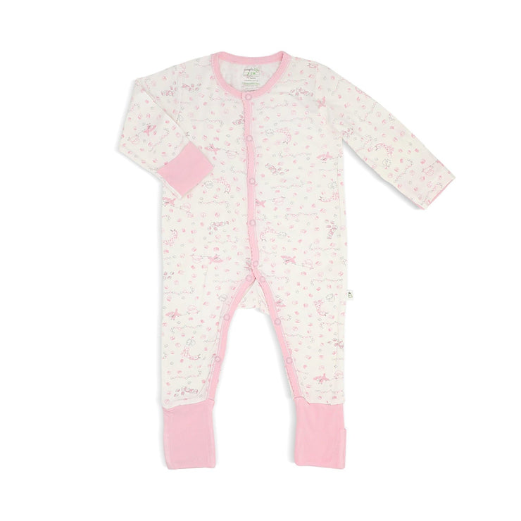 Joy Ride - Long-sleeved Button Sleepsuit with Folded Mittens & Footie - Simply Life