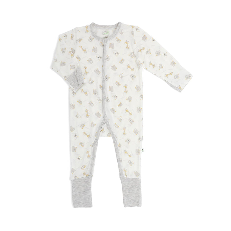 Jungle - Long-sleeved Button Sleepsuit with Folded Mittens & Footie - Simply Life