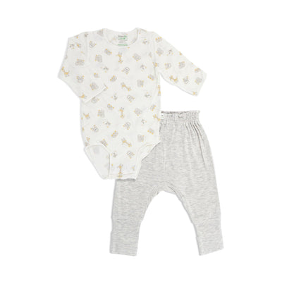 Jungle - Long-sleeved Stretchy Romper with Foldable Footie Pants - Simply Life