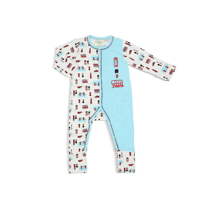 London - Long-sleeved Button Sleepsuit with Folded Mittens & Footie (Spot Print) - Simply Life