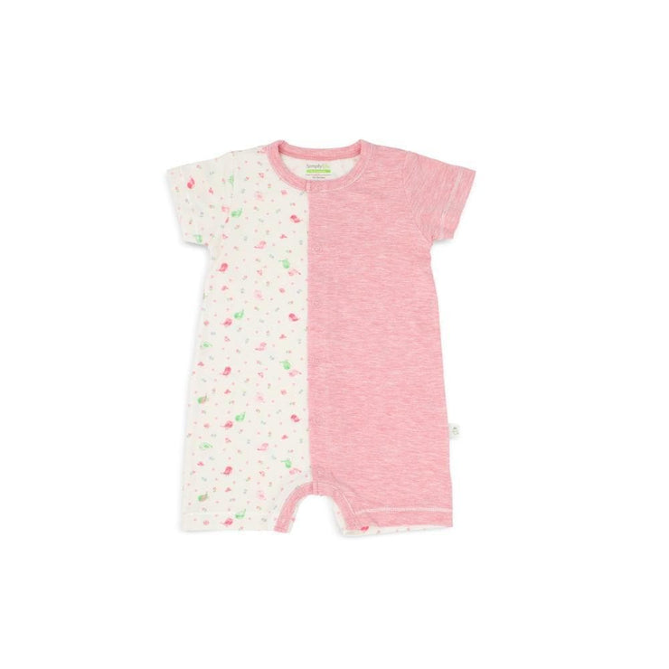 Lovely Birds - Short-sleeved Shortall with Front Buttons by simplylifebaby