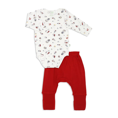 Marine - Long-sleeved Stretchy Romper with Foldable Footie Pants - Simply Life