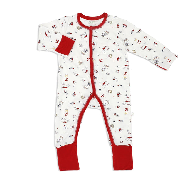 Marine (Maroon) - Long-sleeved Button Sleepsuit with Folded Mittens & Footie - Simply Life