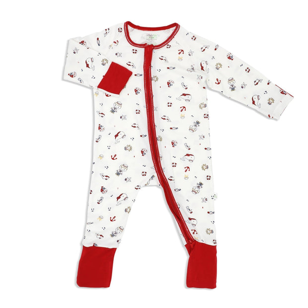 Marine (Maroon) - Long-sleeved Zipper Sleepsuit with Folded Mittens & Footie - Simply Life