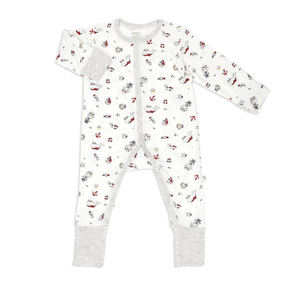 Marine (Sandwash Grey) - Long-sleeved Button Sleepsuit with Folded Mittens & Footie - Simply Life
