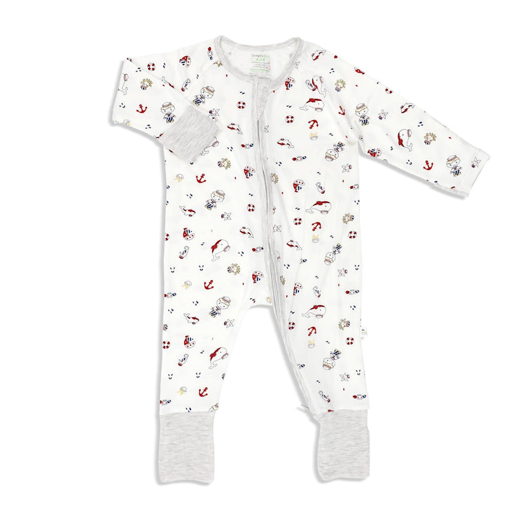 Marine (Sandwash Grey) - Long-sleeved Zipper Sleepsuit with Folded Mittens & Footie - Simply Life