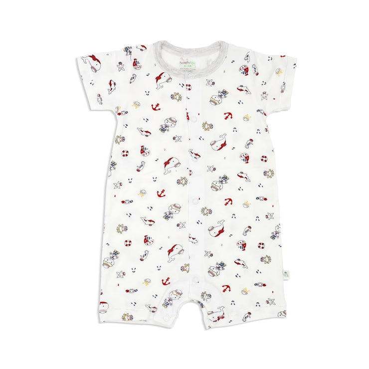 Marine - Short-sleeved Shortall with Front Buttons (Grey) - Simply Life
