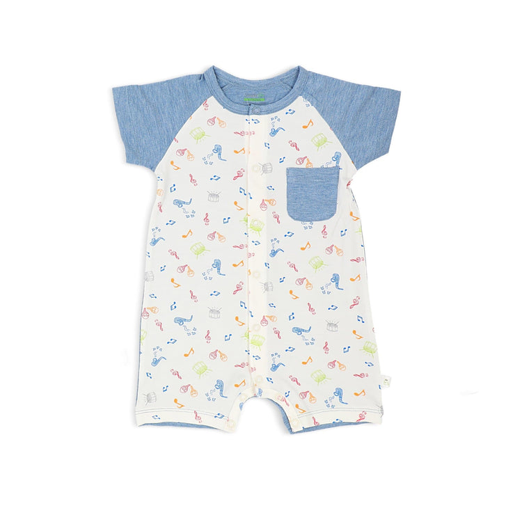 Musical - Short-sleeved Shortall with Front Buttons by simplylifebaby