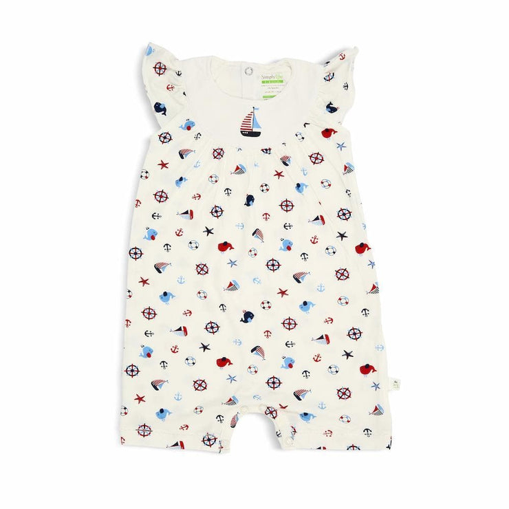 Nautical - Shortall with Frilled Sleeves and Spot Print - Simply Life