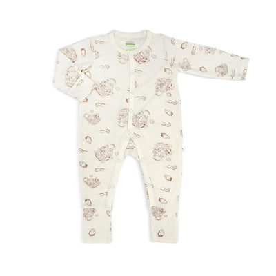 Noah's Ark - Long-sleeved Button Front Sleepsuit with Folded Mittens & Footie by simplylifebaby
