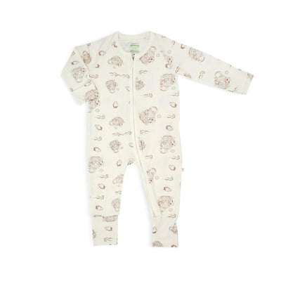 Noah's Ark - Long-sleeved Zipper Sleepsuit with Folded Mittens & Footie by simplylifebaby