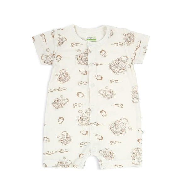 Noah's Ark - Short-sleeved Shortall with Front Buttons by simplylifebaby