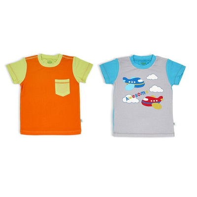 Orange/Lime & Grey/Aqua - Short-sleeved T-shirt (2-Pack Set) by simplylifebaby