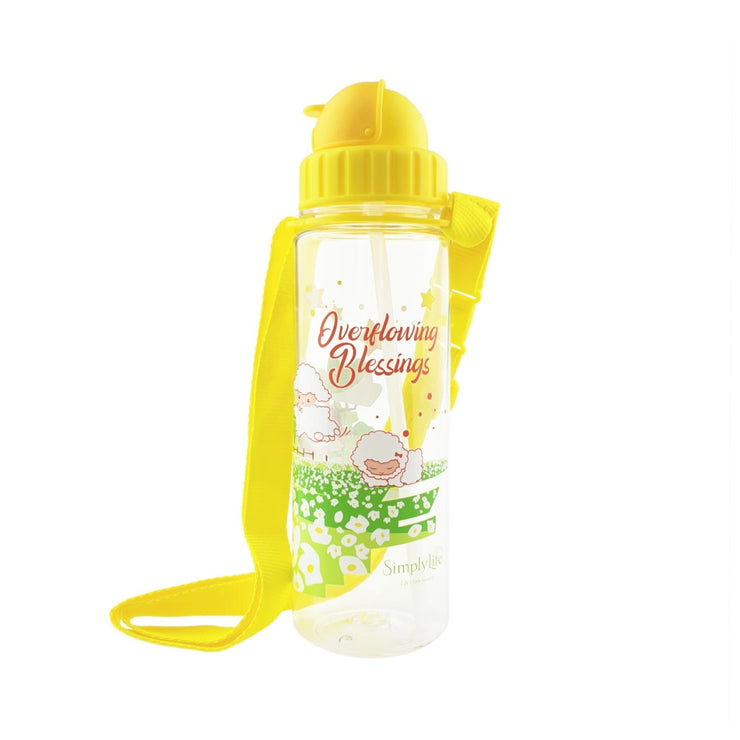 Overflowing Blessings Lambs - 450 ml bottle with straw lid and strap - Simply Life