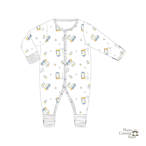 Penguins - Long-sleeved Button Sleepsuit with Folded Mittens & Footie - Simply Life