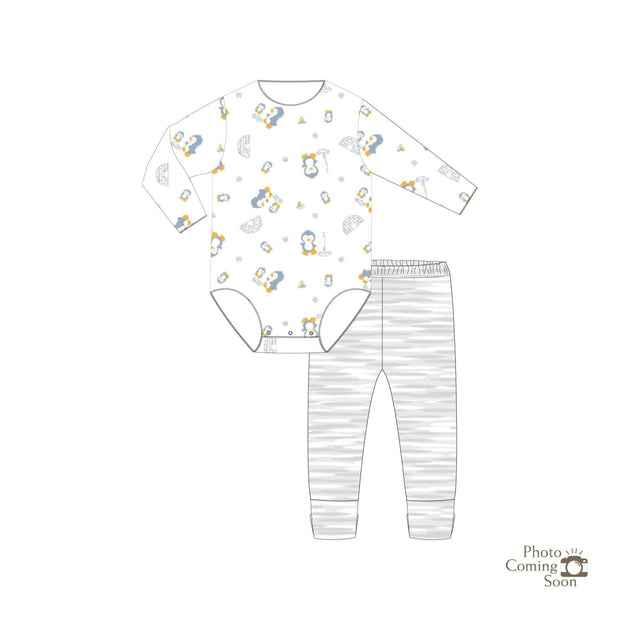 Penguins - Long-sleeved Stretchy Romper with Foldable Footie Pants - Simply Life