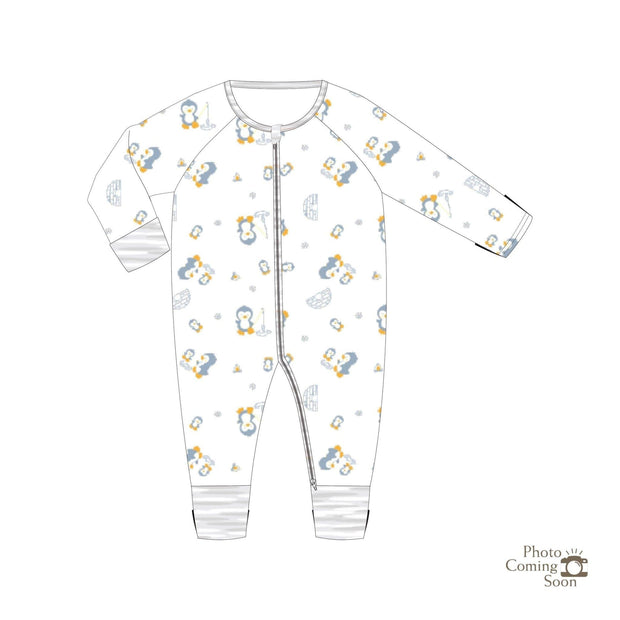 Penguins - Long-sleeved Zipper Sleepsuit with Folded Mittens & Footie - Simply Life