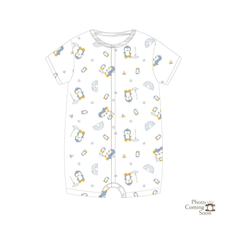 Penguins - Short-sleeved Shortall with Front Buttons (Grey) - Simply Life
