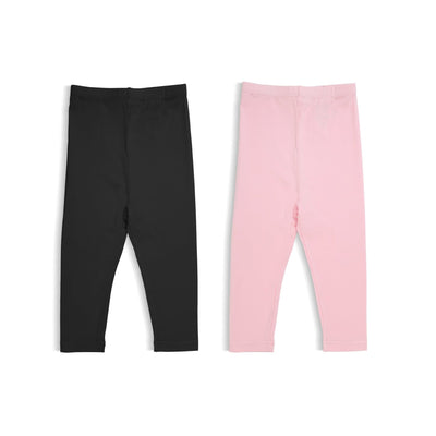 Pink & Black - Girls' Basic Leggings (pack of 2) - Simply Life
