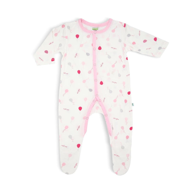 Pink Delight Balloons - Long-sleeved Button Front Sleepsuit with Footie by simplylifebaby
