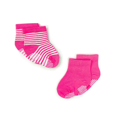 Pink Stripes - Anti-slip Bamboo Socks (2 Pairs) - Simply Life