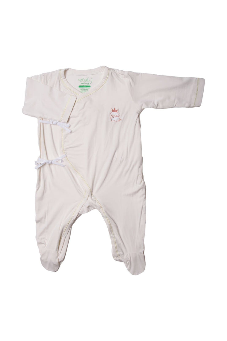 Plain Lamb - Long-sleeved Sleepsuit with Side Tie and Footsie by simplylifebaby