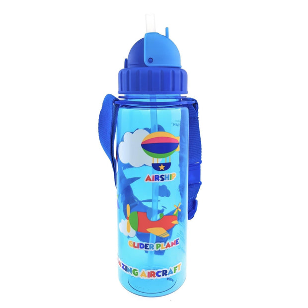 Planes - 450 ml Water Bottle with Straw Lid and Strap - Simply Life