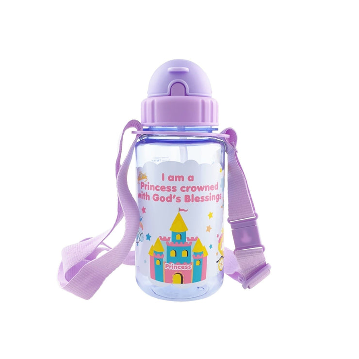 Princess Crowned with God's Blessings - 350 ml Water bottle with straw lid and Strap - Simply Life