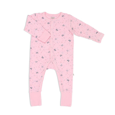 Ribbons - Long-sleeved Button Sleepsuit with Folded Mittens & Footie - Simply Life