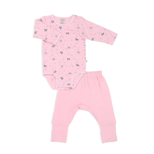 Ribbons - Long-sleeved Stretchy Romper with Foldable Footie Pants - Simply Life
