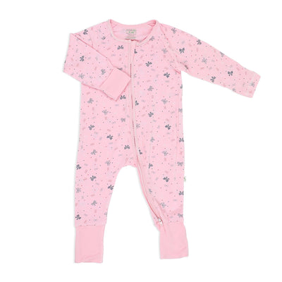 Ribbons - Long-sleeved Zipper Sleepsuit with Folded Mittens & Footie - Simply Life