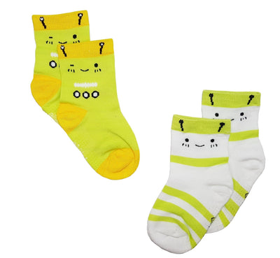 Robots (1-pair Lime Green / 1-pair White) - Anti-slip Bamboo Socks (2 Pairs) by simplylifebaby