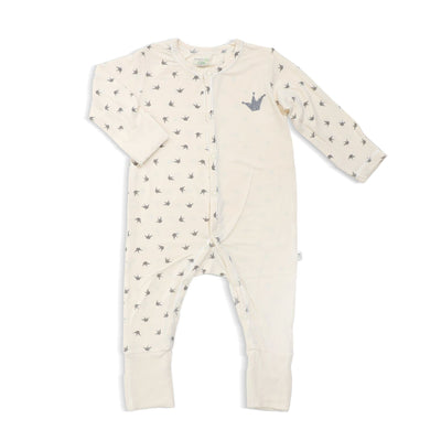 Royale - Long-sleeved Button Sleepsuit with Folded Mittens & Footie by simplylifebaby