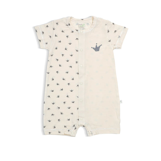 Royale - Short-sleeved Shortall with Front Buttons by simplylifebaby