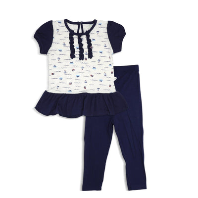 Sailing - Blouse with Puff Sleeves & Leggings (2-pc set) by simplylifebaby