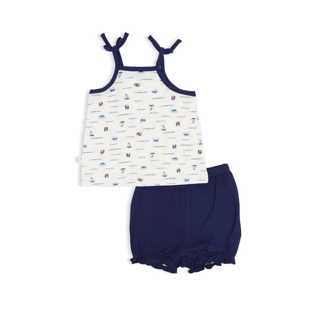 Sailing - Blouse with Spaghetti Tie & Bloomer Shorts Set by simplylifebaby